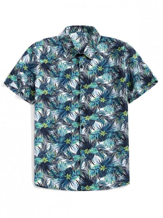 hot Tropical Plants Print Hawaii Beach Shirt - DARK TURQUOISE 3XL