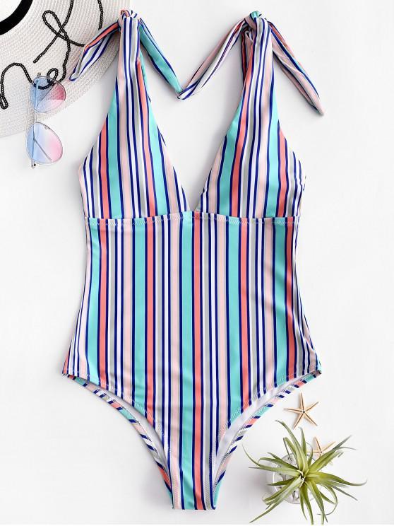 womens ZAFUL Multi Stripe Knot Plunge One-piece Swimsuit - MULTI-A L