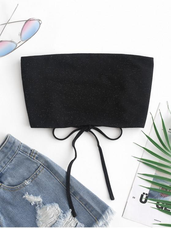 affordable ZAFUL Glitter Lace Up Crop Tube Top - BLACK S