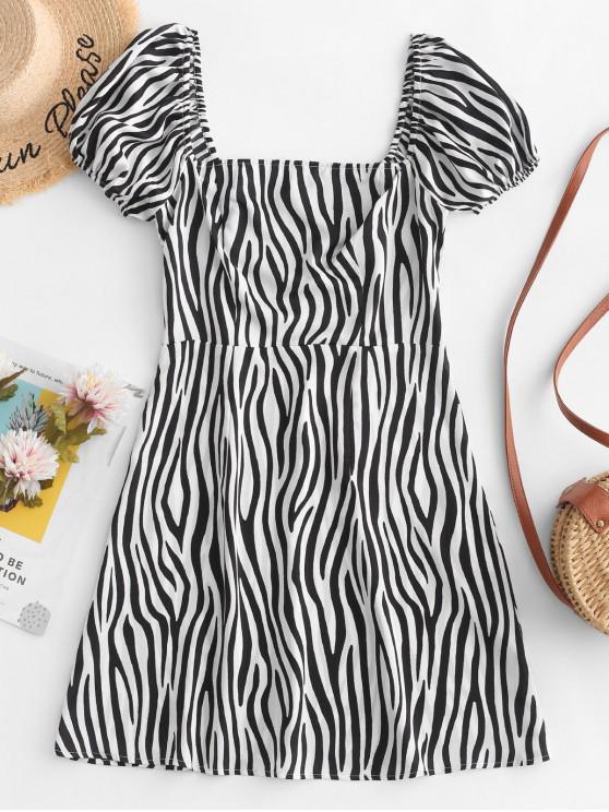 lady ZAFUL Smocked Zebra Print Mini Milkmaid Dress - WHITE M