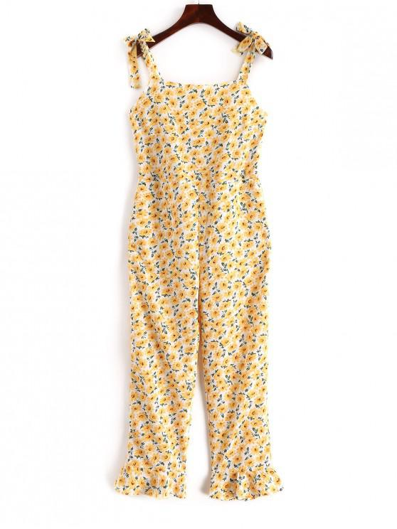 womens Tied Straps Smocked Floral Wide Leg Jumpsuit - YELLOW S