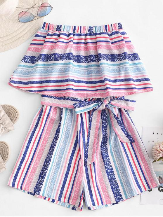 outfits Overlay Strapless Stripes Romper - MULTI M