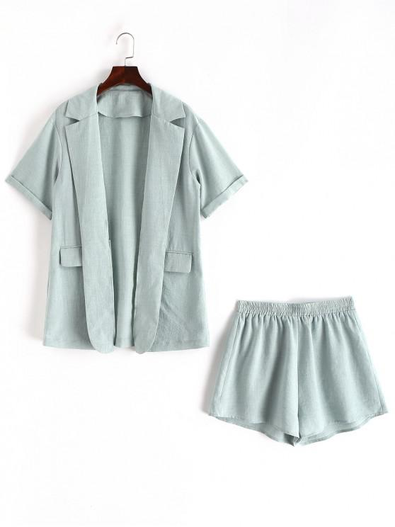 best ZAFUL Pockets Solid Open Front Blazer And Shorts Set - CYAN OPAQUE S