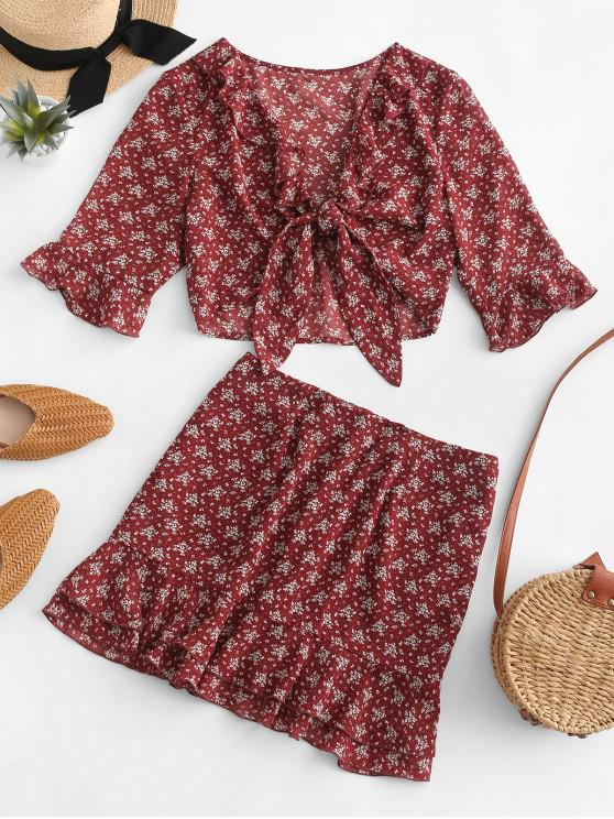 outfit ZAFUL Ruffled Flare Sleeve Printed Blouse and Skirt Set - CHESTNUT L