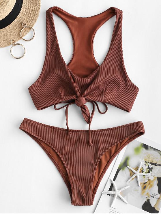 ZAFUL Bikini Bikini Racerback acanalado con textura - Castaña L