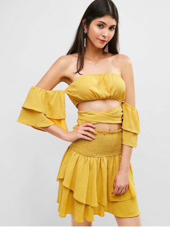 women ZAFUL Off Shoulder Top And Smocked Layered Skirt Set - SUN YELLOW S