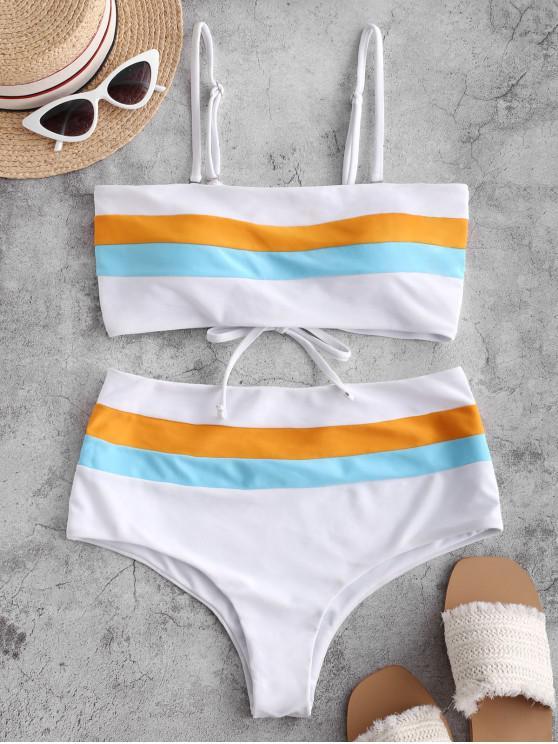 hot ZAFUL Color Block Lace-up Bandeau Bikini Swimsuit - WHITE L