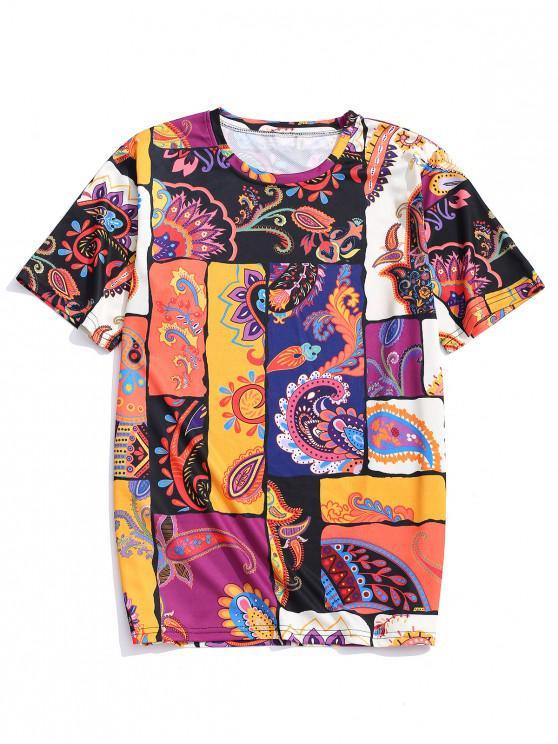 lady Ethnic Tribal Flower Paisley Print T-shirt - MULTI-A 4XL