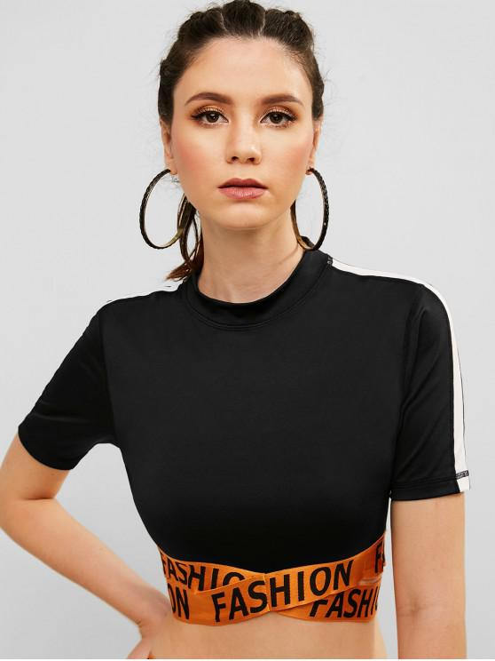 lady FASHION Graphic Criss Cross Crop T-shirt - BLACK M