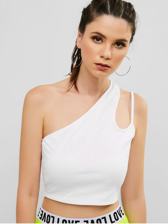 shops ZAFUL Cutout One Shoulder Ribbed Tank Top - WHITE S