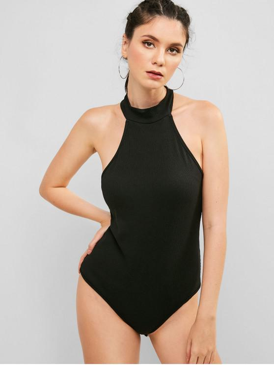fashion ZAFUL Snap Button at The Gusset Ribbed Bodysuit - BLACK S