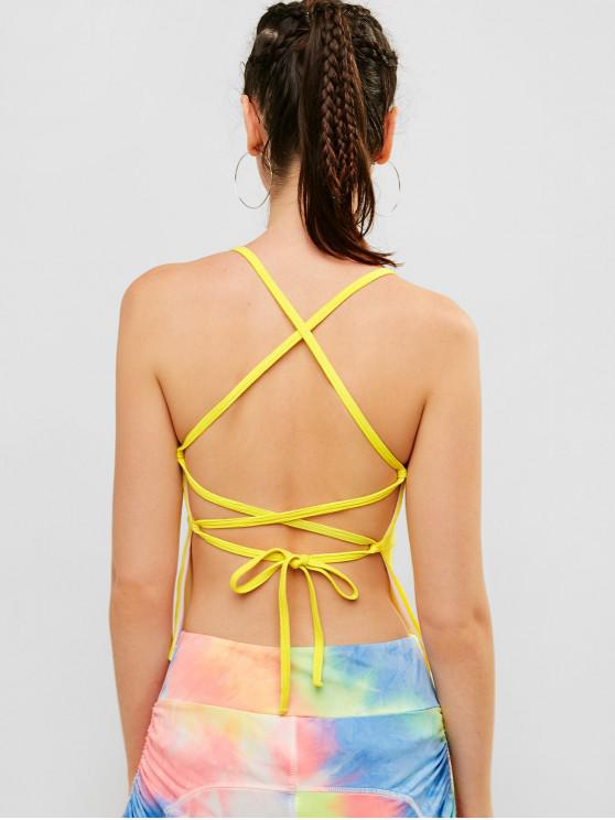 sale ZAFUL Ribbed Criss Cross Backless Camisole - YELLOW M