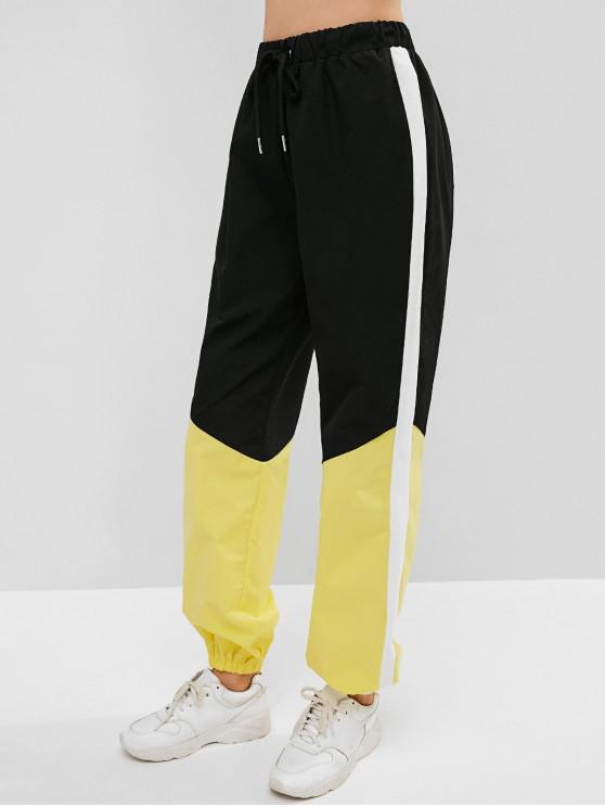 women ZAFUL Drawstring Color Block Jogger Pants - BLACK L