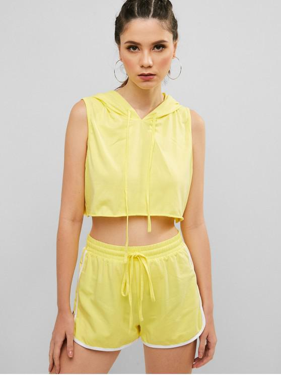 ladies ZAFUL Hooded Crop Tank Top and Dolphin Shorts Set - YELLOW M
