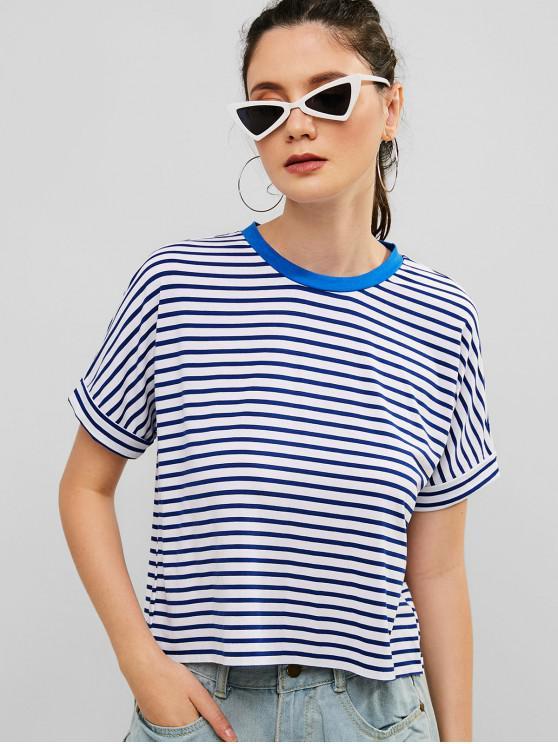 lady ZAFUL Rolled Sleeve Striped Raw Hem Tee - BLUE S
