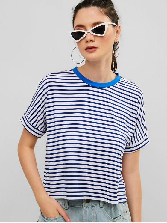 online ZAFUL Rolled Sleeve Striped Raw Hem Tee - BLUE L