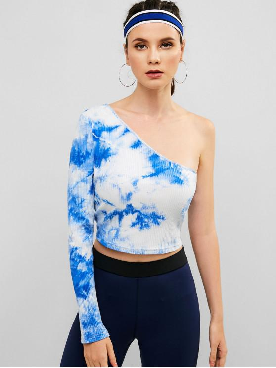 outfit ZAFUL Ribbed One Shoulder Tie Dye Tee - BLUE KOI L