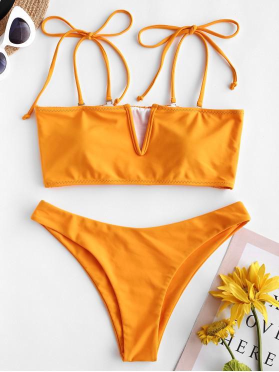 ZAFUL V-Wired Shirred Tie Bandeau Bikini Swimsuit - نحلة صفراء L