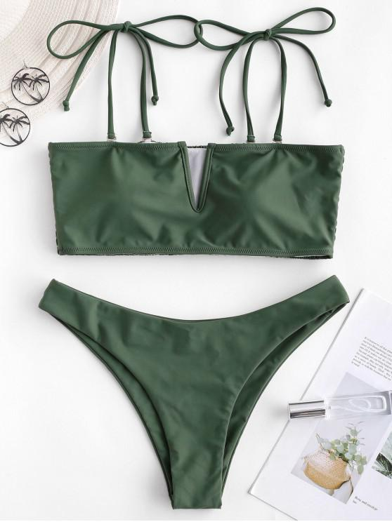 affordable ZAFUL V-wired Shirred Tie Bandeau Bikini Swimsuit - MEDIUM SEA GREEN L