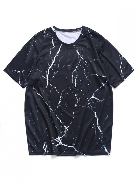 T-shirt Marbre Imprimé à Manches Courtes - Noir Graphite XL
