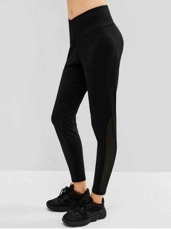 trendy Mesh Insert Wide Waistband Skinny Leggings - BLACK M