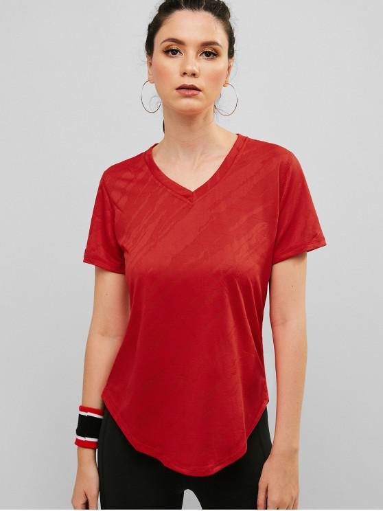 online Perforated V Neck Curved Hem T-shirt - RED L