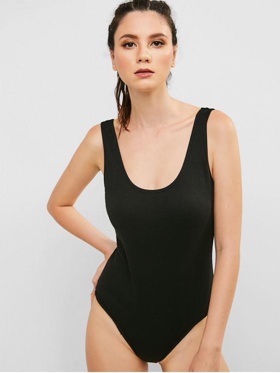hot ZAFUL Ribbed Open Back Sleeveless Bodysuit - BLACK M