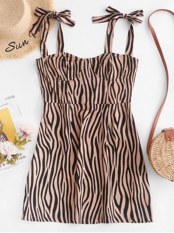 new ZAFUL Smocked Tied Straps Zebra Print Mini Dress - MULTI M