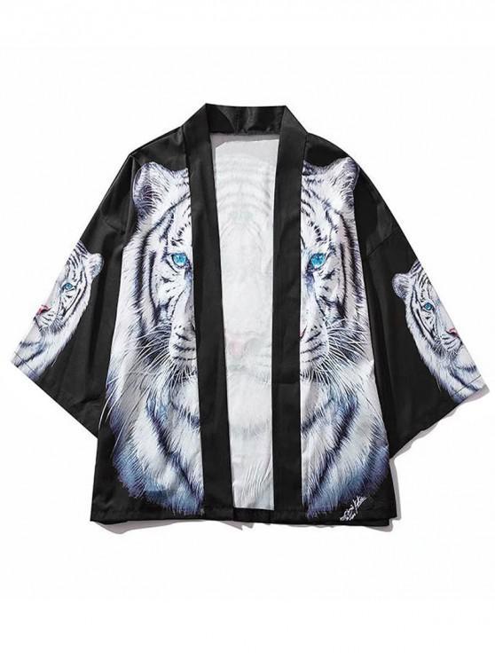 hot Tiger Head Graphic Print Kimono Cardigan - BLACK L
