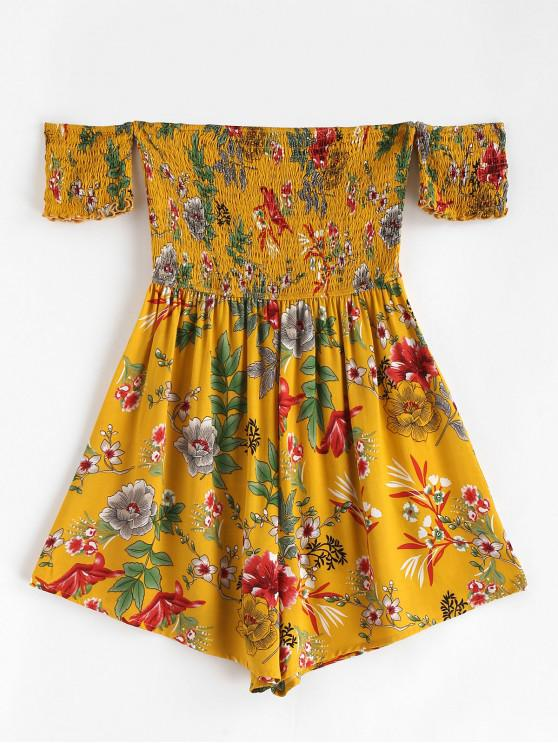 unique ZAFUL Floral Smocked Off Shoulder Romper - BEE YELLOW M