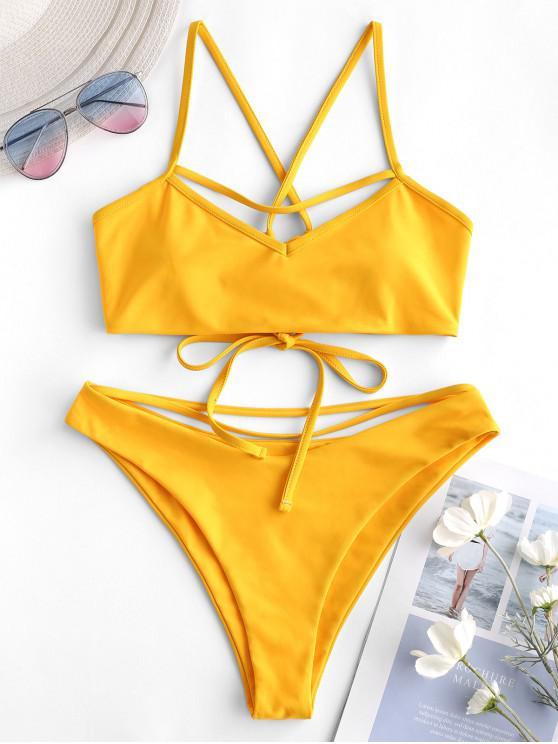 shops ZAFUL Strappy Crisscross Bralette Bikini Swimsuit - RUBBER DUCKY YELLOW S