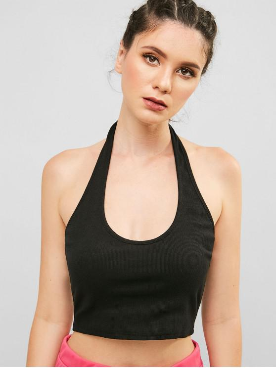 women's ZAFUL Backless Halter Knit Crop Top - BLACK S