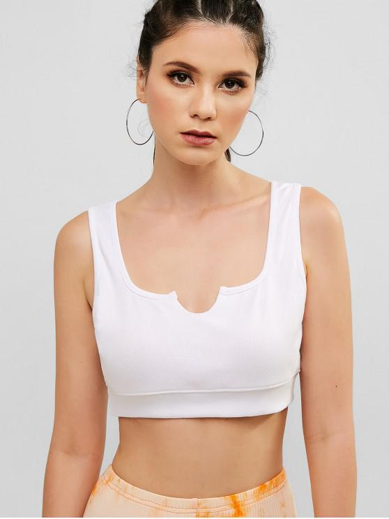 72350eae77363c 33% OFF] [POPULAR] 2019 ZAFUL Crop U Neck Knitted Tank Top In WHITE ...