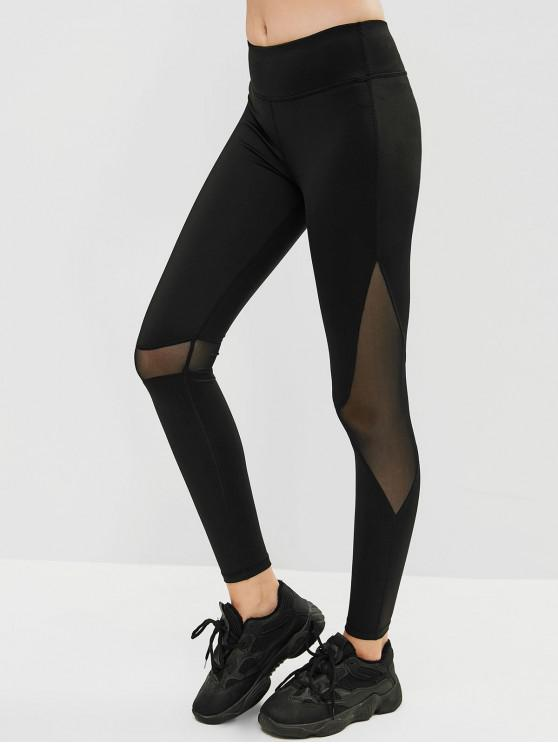 new Mesh Insert Skinny Gym Leggings - BLACK M