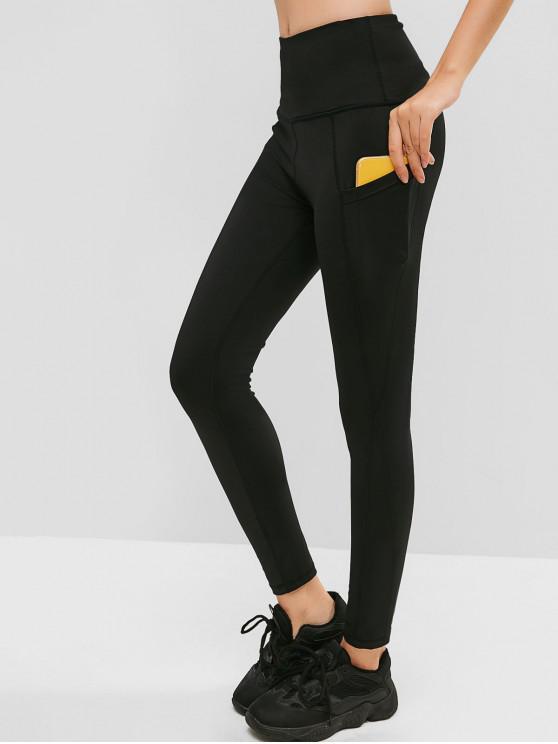 shop Hidden Pocket High Waisted Skinny Leggings - BLACK L