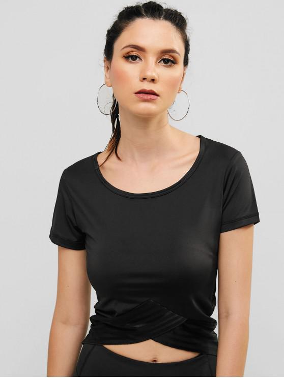 trendy Mesh Insert Tulip Gym T-shirt - BLACK L