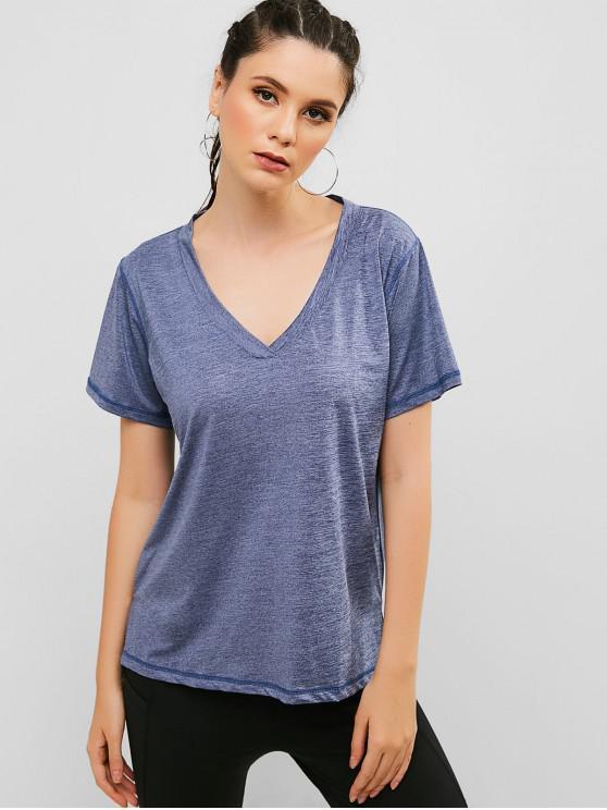 fashion V Neck Slit Sport T-shirt - SLATE BLUE M