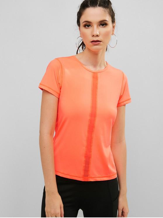 women Mesh Insert Stitching Short Sleeve T-shirt - ORANGE L