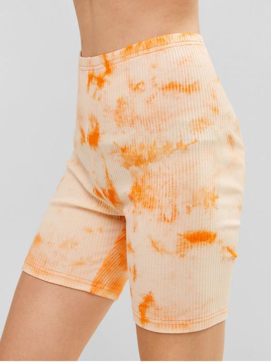 ZAFUL   Gerippte Dünne Biker-Hose mit Batikmuster - Mango Orange S