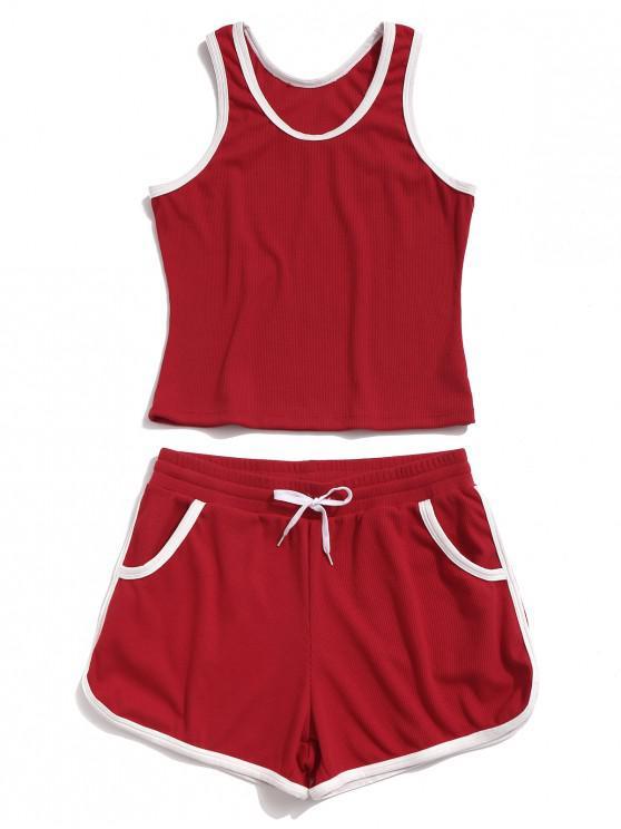 affordable ZAFUL Racerback Pocket Drawstring Ringer Shorts Set - RED S
