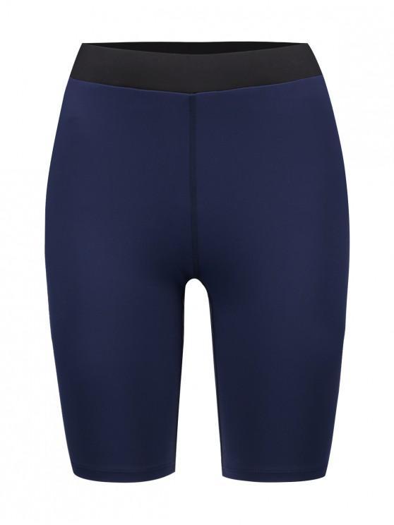 shop ZAFUL Color Block Skinny Biker Shorts - CADETBLUE L