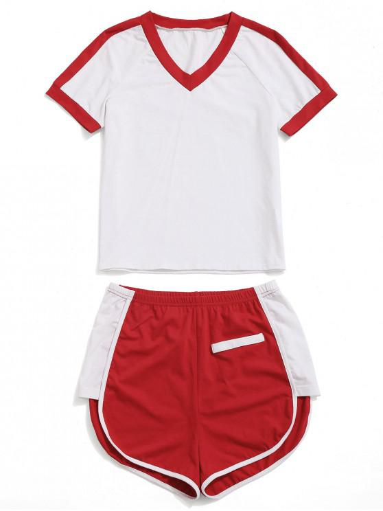 latest ZAFUL V Neck Contrast Tee and Shorts Set - RED S