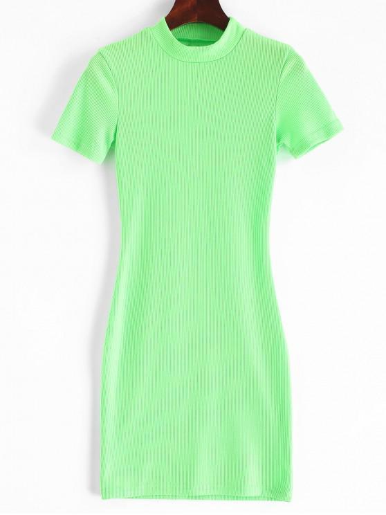 ladies Mock Neck Ribbed Neon Sheath Dress - EMERALD GREEN S