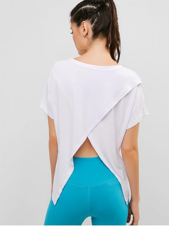buy V Neck Batwing Sleeve Tulip Back T-shirt - WHITE L