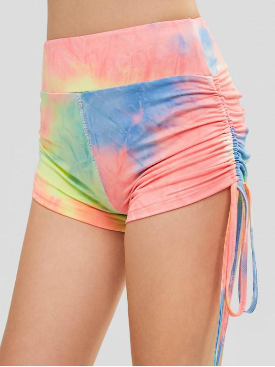 chic ZAFUL Cinched Tie Dye Workout Shorts - MULTI S