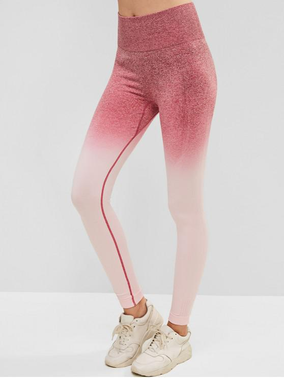 Leggings largos do Gym da cintura da tintura do espaço de Ombre - Rosa S