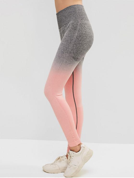 best Ombre Space Dye Wide Waistband Gym Leggings - ORANGE PINK L