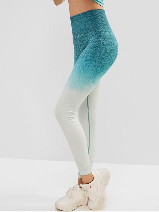 hot Ombre Space Dye Wide Waistband Gym Leggings - MEDIUM AQUAMARINE L