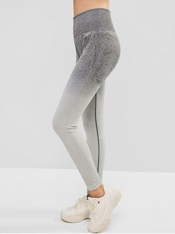 shop Ombre Space Dye Wide Waistband Gym Leggings - DARK GRAY L