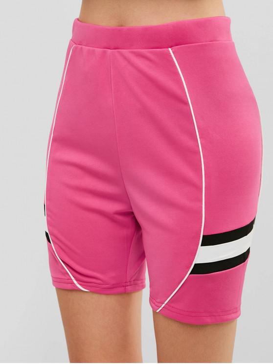 fancy High Waisted Contrast Skinny Biker Shorts - HOT PINK L
